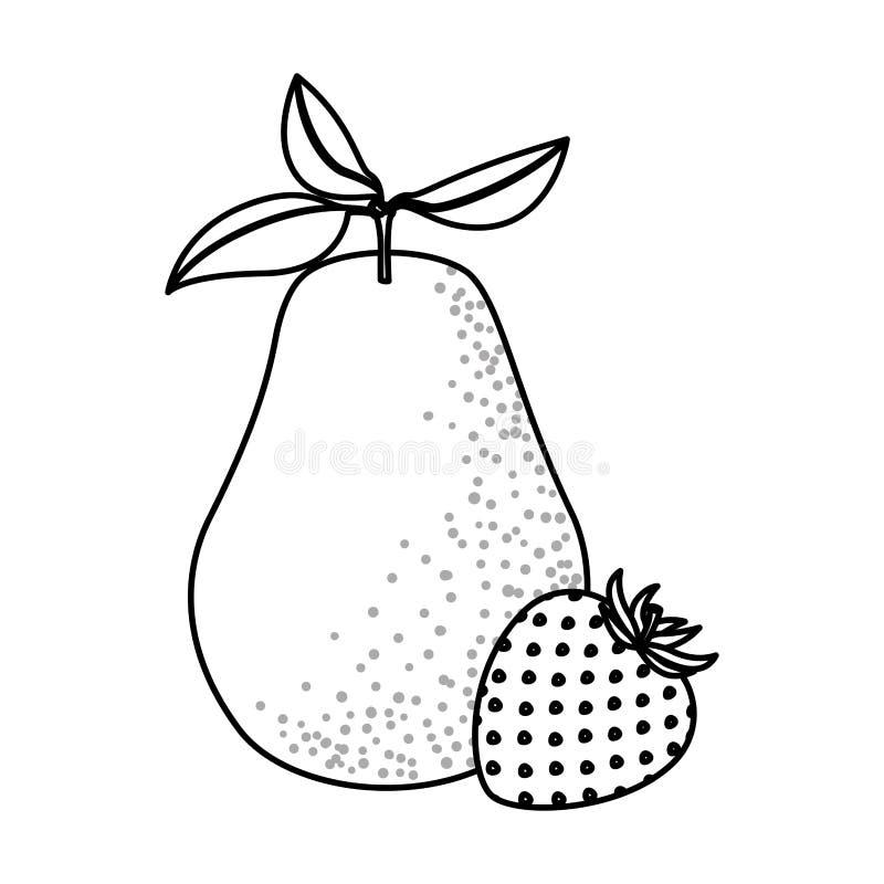 Zwart-wit achtergrond met vruchten peer en aardbei vector illustratie