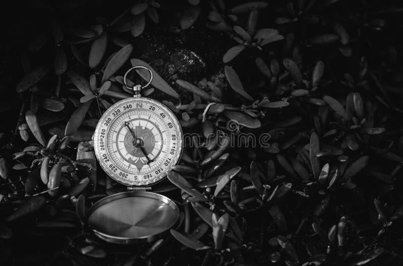 Zwart-wit analoog die kompas op gras wordt verlaten stock fotografie