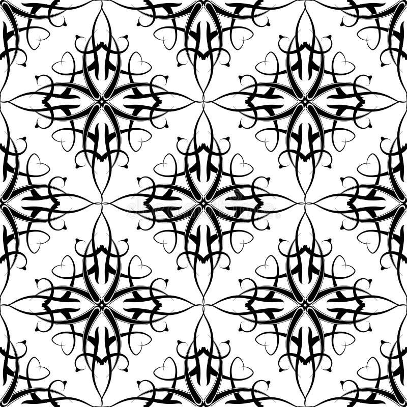 Zwart-wit arabesque naadloos patroon Vector sier Arabische stijlachtergrond Herhaal decoratieve achtergrond Getrokken hand royalty-vrije illustratie