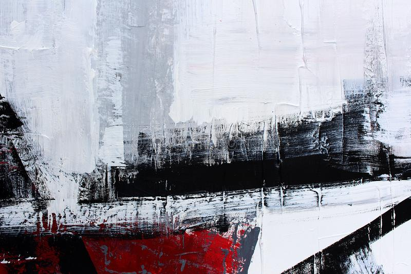 zwart-wit art. Met de hand geschilderde achtergrond Fragment van kunstwerk royalty-vrije stock afbeeldingen