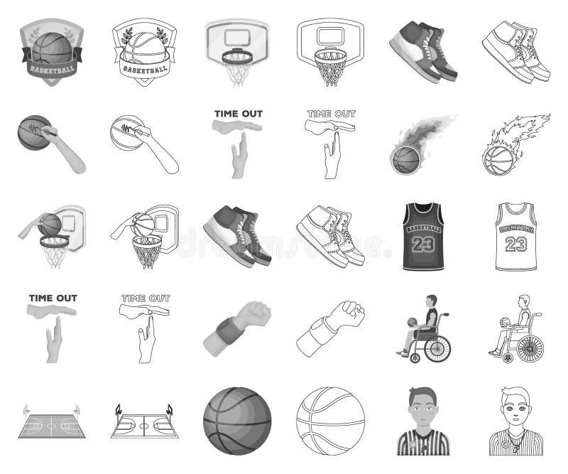 Zwart-wit basketbal en attributen, overzichtspictogrammen in vastgestelde inzameling voor ontwerp Van het basketbalspeler en mate stock illustratie