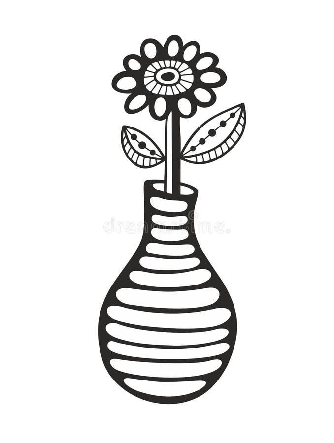 Zwart-wit beeld van bloem en vaas vector illustratie