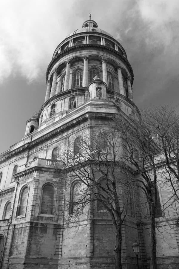 Zwart-wit beeld van de Basiliek van Notre-Dame DE Boulogne, stock afbeeldingen