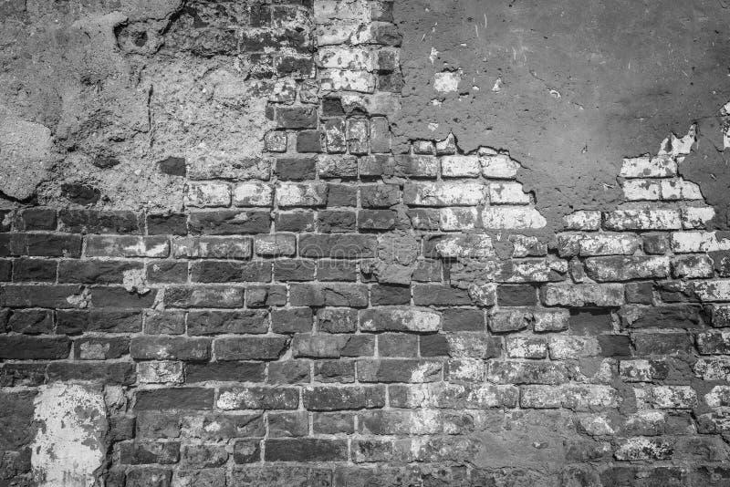 Zwart-wit beeld van de oude bakstenen muur royalty-vrije stock foto's