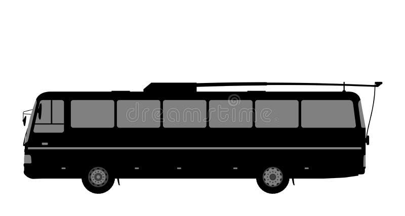 Zwart-wit beeld van de trolleybus royalty-vrije illustratie