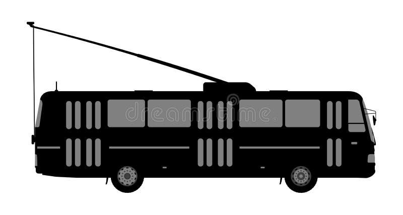 Zwart-wit beeld van de trolleybus stock illustratie