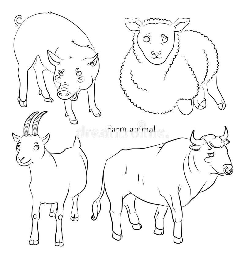 Zwart-wit beeld van een stier, een varken, schapen en een geit stock illustratie
