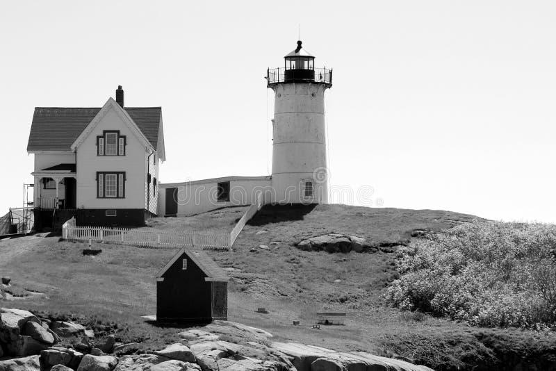 Zwart-wit beeld van geliefde het Brokjevuurtoren van Maine ` s, York, 2018 stock foto