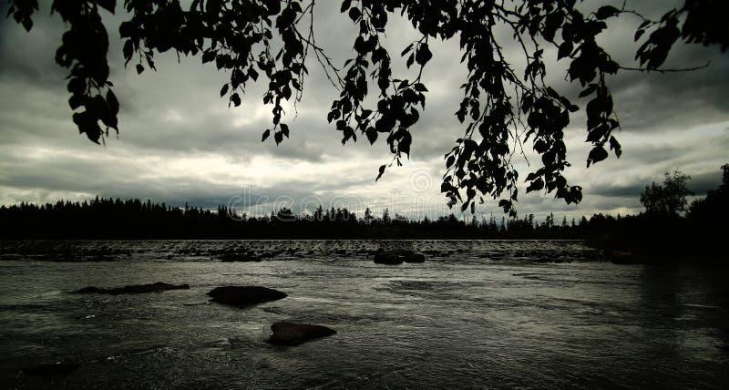 Zwart-wit beeld van het beeld van de Angerman-stroom in Vilhelmina, Zweden stock foto