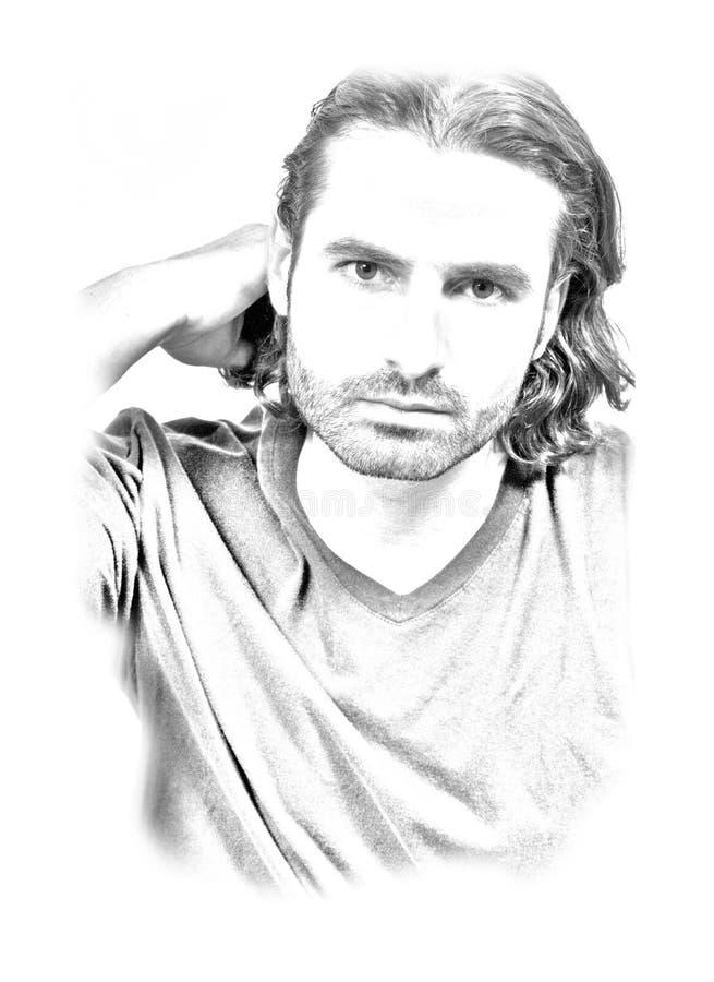 Zwart-wit beeld van knap mannelijk model royalty-vrije stock afbeeldingen