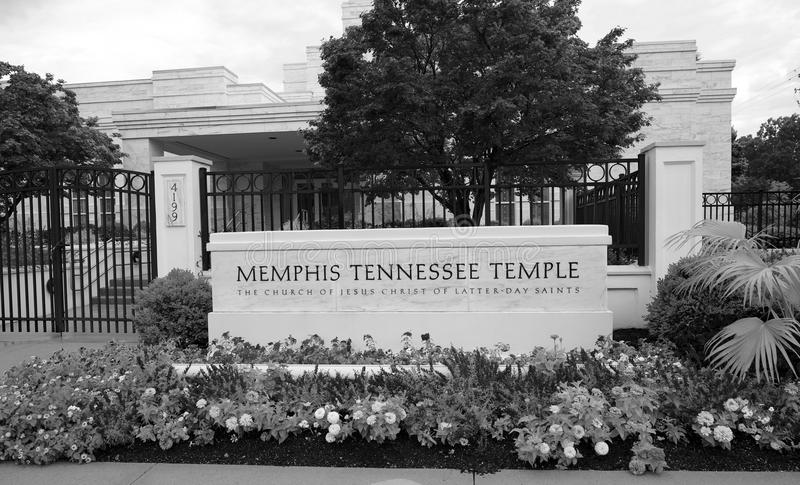 Zwart-wit Beeld van Memphis Temple van Laatstgenoemde Dagheiligen royalty-vrije stock foto