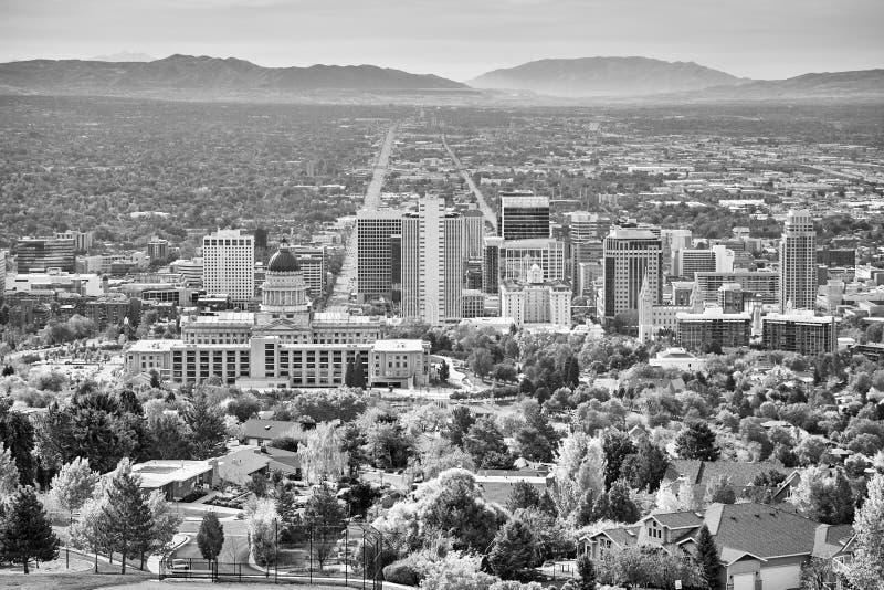Zwart-wit beeld van Salt Lake City, de V.S. stock afbeeldingen