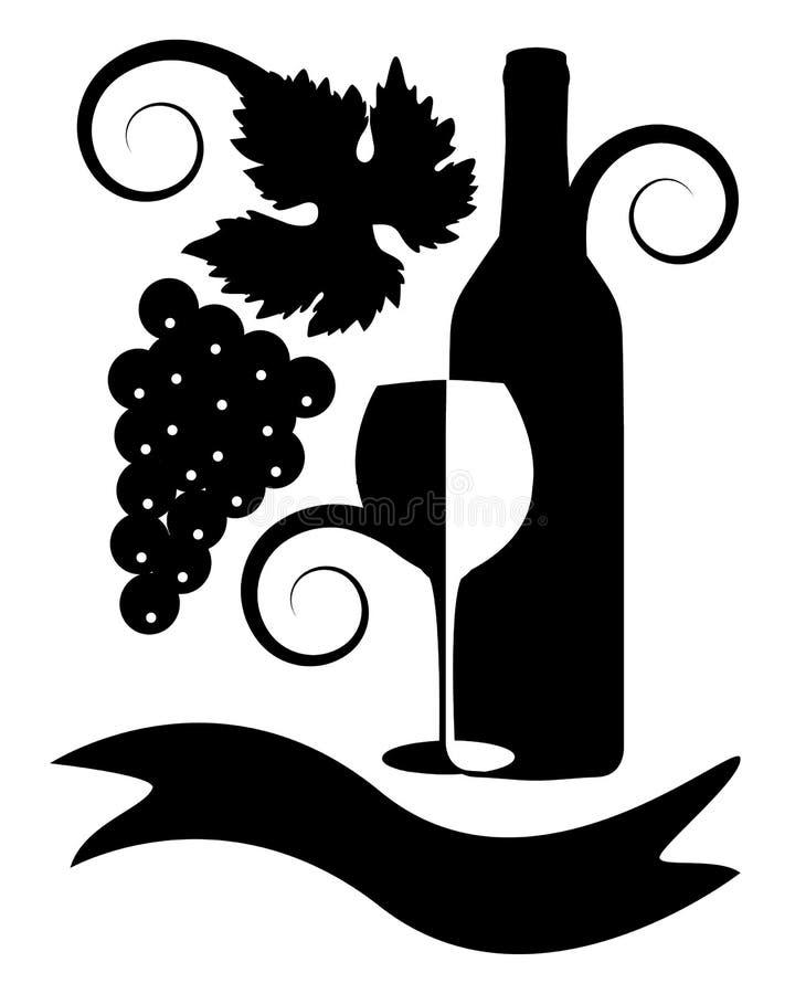 Zwart-wit beeld van wijn stock illustratie