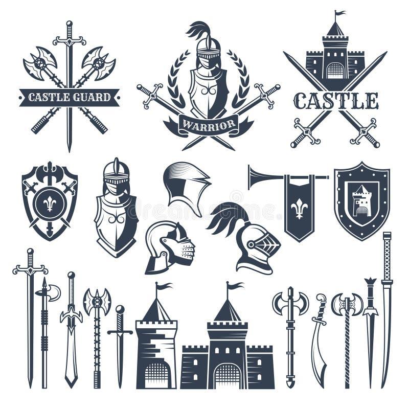 Zwart-wit beelden en kentekens van middeleeuws ridderthema Illustraties van helmen, zwaarden stock illustratie
