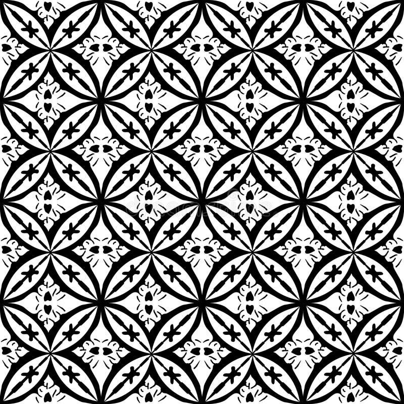 Zwart-wit bloemen Abstract Geometrisch Naadloos Vectordrukpatroon royalty-vrije illustratie