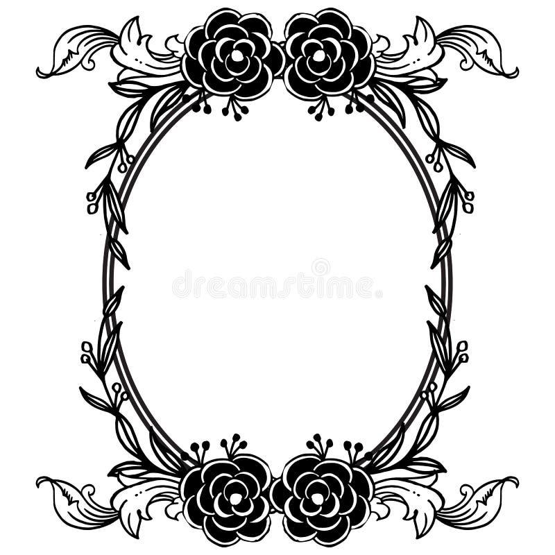 Zwart wit bloemkader, de wijnoogst van het stijlornament, decoratie van kaarten Vector royalty-vrije illustratie