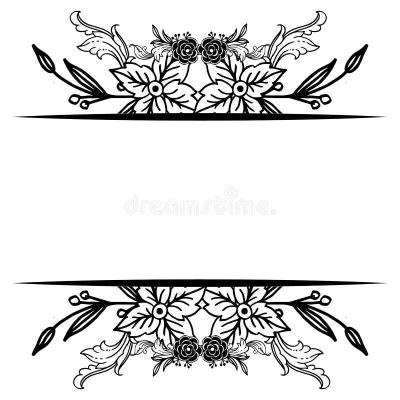 Zwart wit bloemkader, de wijnoogst van het stijlornament, decoratie van kaarten Vector stock illustratie