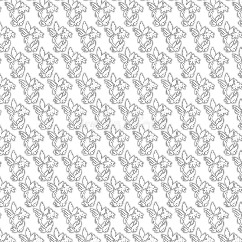 Zwart-wit bloempatroon stock foto
