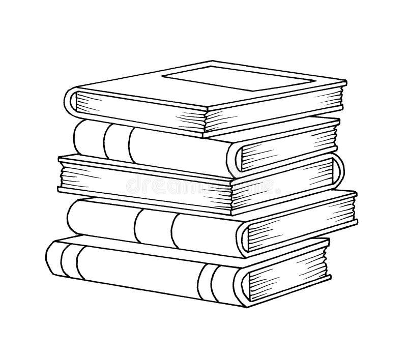 Zwart-wit - boeken stock illustratie