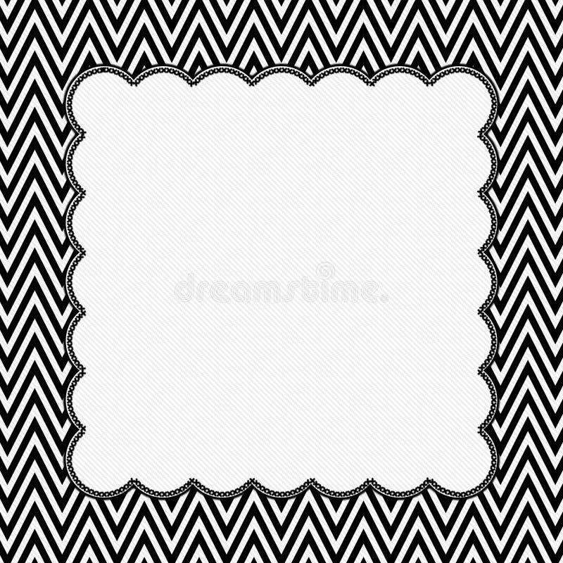 Zwart-wit Chevronkader met Borduurwerkachtergrond royalty-vrije illustratie