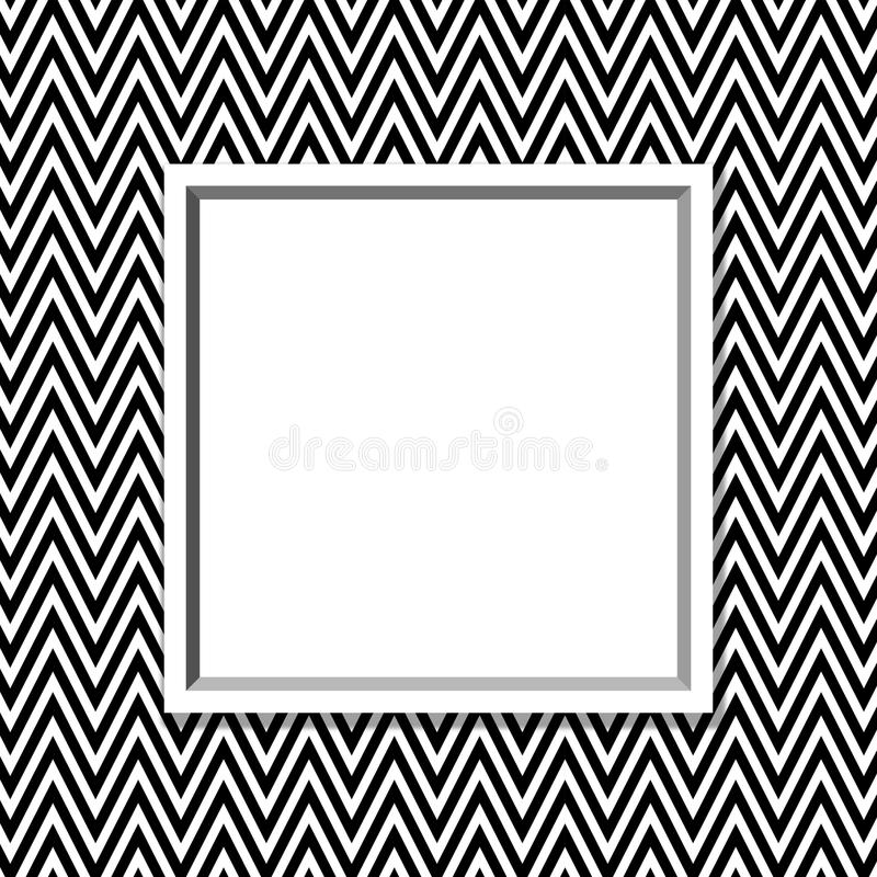 Zwart-wit Chevronkader met Kaderachtergrond stock illustratie