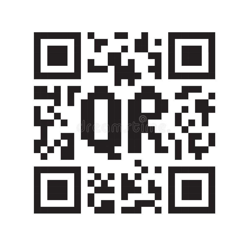 Zwart-wit code QR stock illustratie