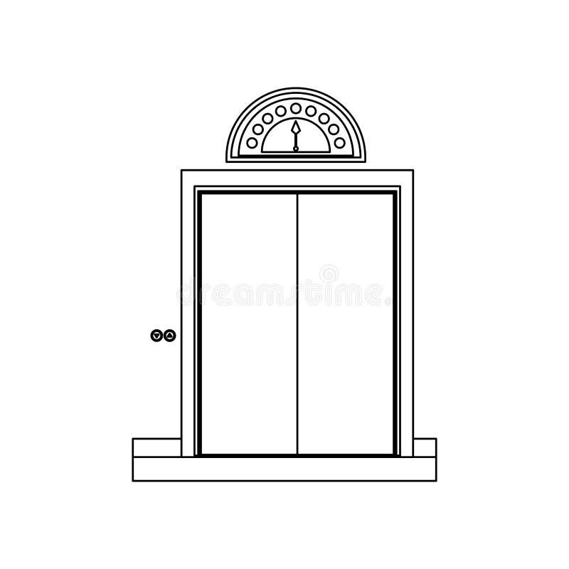 zwart-wit contour met lift gesloten deur stock illustratie