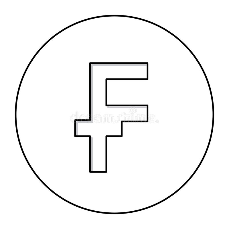 zwart-wit contour met muntsymbool van openhartige Frans en Belgisch in cirkel stock illustratie