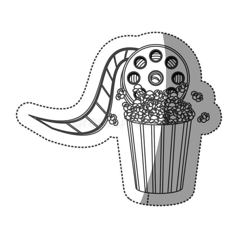 zwart-wit contoursticker met video de filmkraan en popcorn van de cinematografiefilm vector illustratie