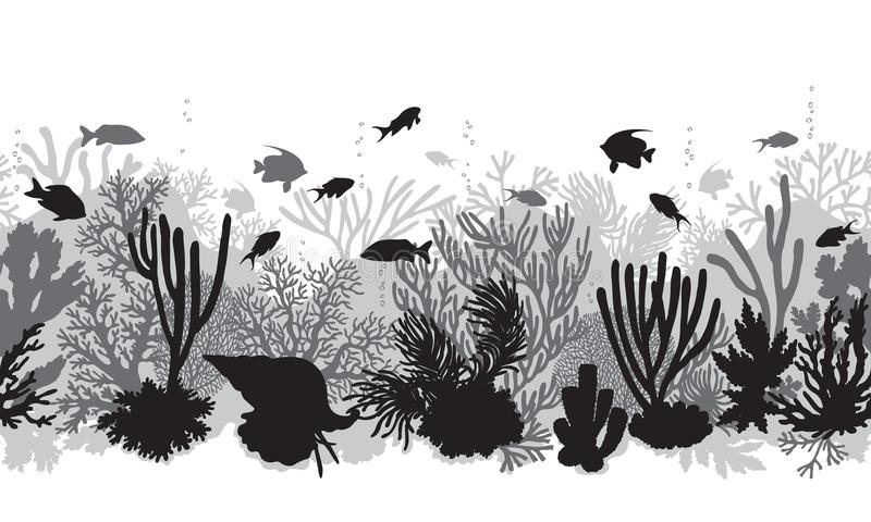 Zwart-wit Coral Reef Line Pattern royalty-vrije illustratie