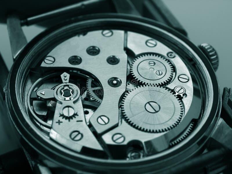 Zwart-wit de macro van de horlogebeweging royalty-vrije stock foto's