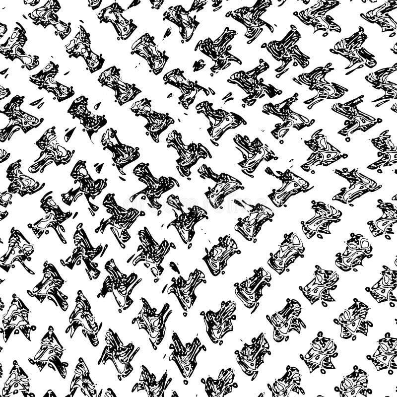 Zwart-wit deeltjes abstracte textuur De achtergrond van barsten, schaaft, breekt, vlekken, inktvlekken, lijnen af Donkere ontwerp royalty-vrije illustratie