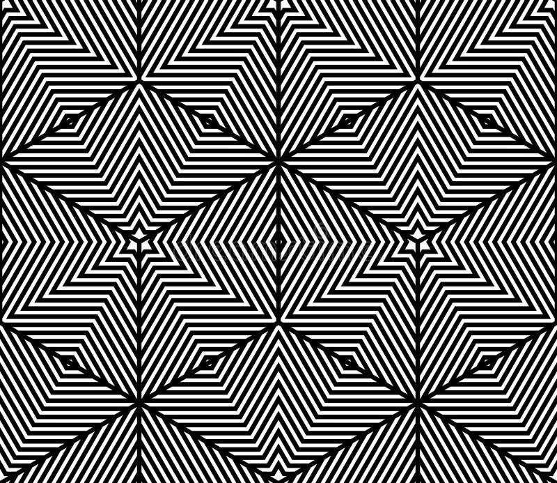 Zwart-wit denkbeeldig abstract geometrisch naadloos patroon met 3d stock illustratie