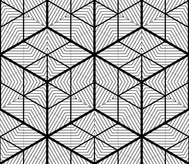 Zwart-wit denkbeeldig abstract geometrisch naadloos patroon met 3d royalty-vrije illustratie