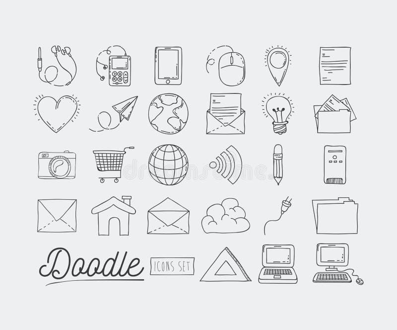 Zwart-wit die affichehand met reeks van technologieapparaten en Internet pictogrammen en bureauhulpmiddelen wordt getrokken van d stock illustratie