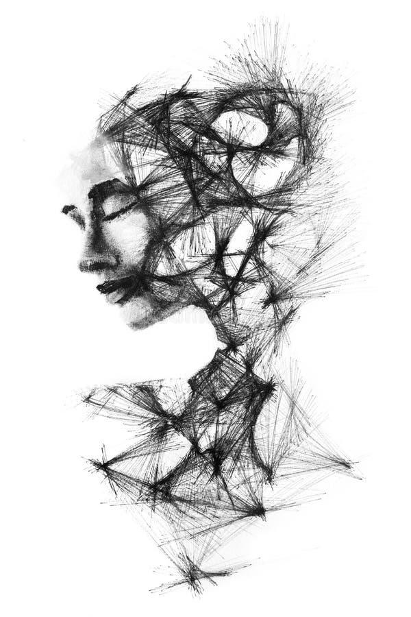 Zwart-wit die portret van een vrouw met snijdend l wordt gecombineerd royalty-vrije illustratie