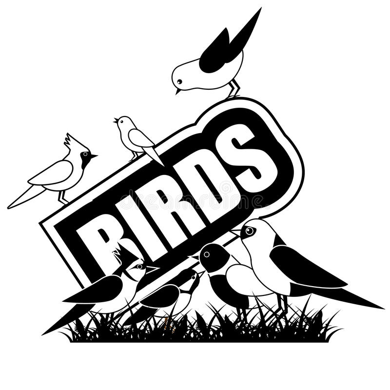 Zwart-wit die Vogelspictogram op wit wordt geïsoleerd stock illustratie
