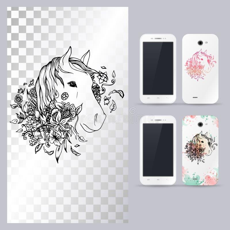 Zwart-wit dierlijk paardhoofd Vectorillustratie voor telefoongeval vector illustratie