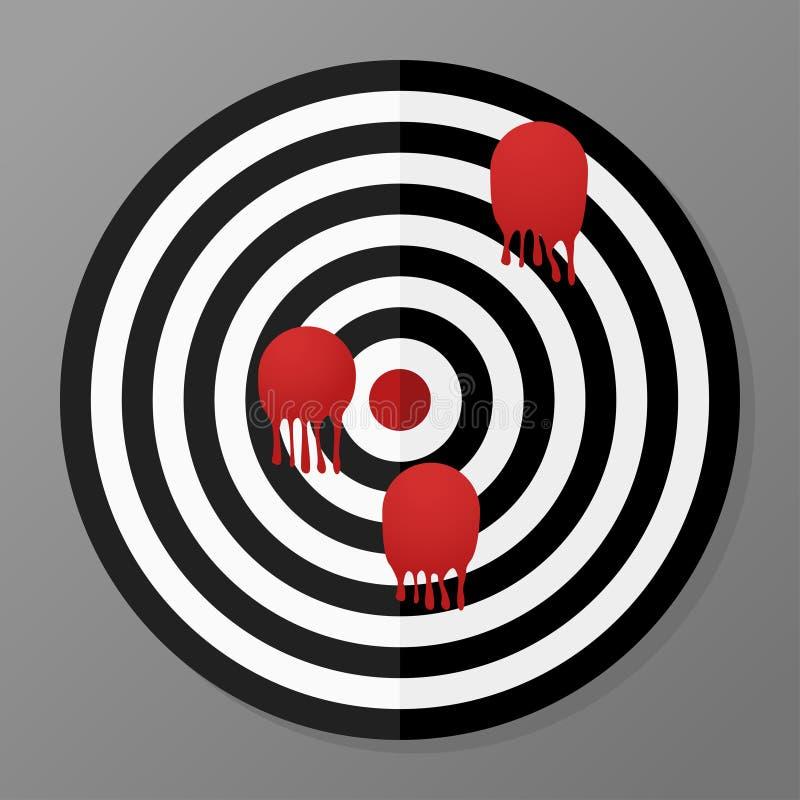 zwart-wit doel in vlak ontwerp stock illustratie