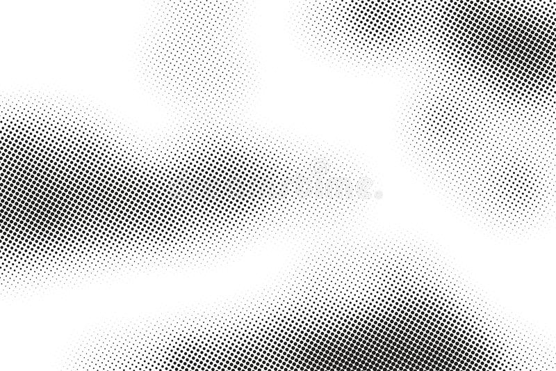 Zwart-wit drukrooster, abstracte vector halftone achtergrond Zwart-witte textuur van punten royalty-vrije illustratie