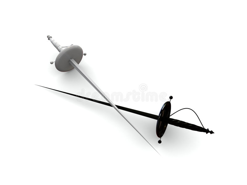 Zwart-wit duel stock illustratie