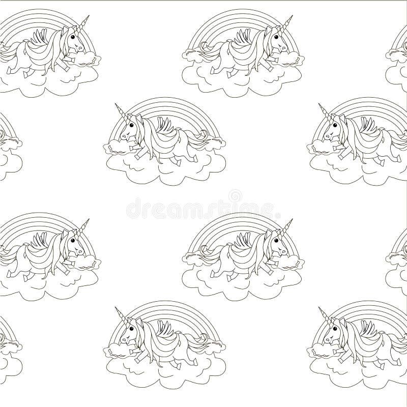Zwart-wit eenhoorn op het naadloze patroon van de wolkenregenboog Het fantastische dierlijke element van het kinderenontwerp vector illustratie
