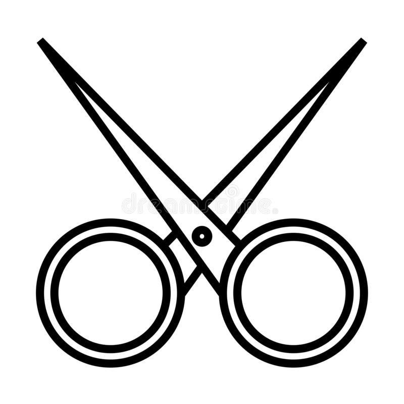 Zwart-wit eenvoudig lineair pictogram van het in betoverende scherpe metaalkappen, nagelschaartje voor scherpe spijkers, die haar vector illustratie