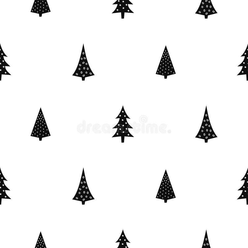 Zwart-wit eenvoudig naadloos Kerstmispatroon royalty-vrije illustratie
