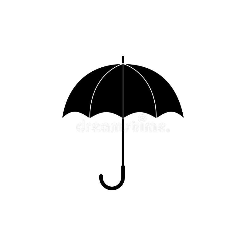 Zwart-wit eenvoudig paraplusilhouet, vector royalty-vrije illustratie