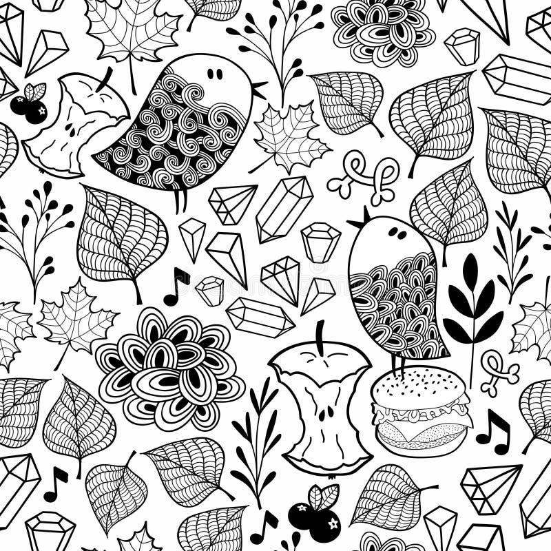 Zwart-wit eindeloos behang met leuke vogels en krabbelinstallaties stock illustratie