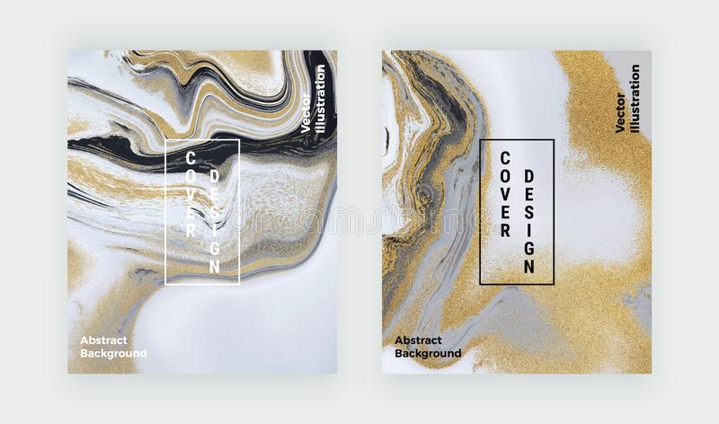 Zwart, wit en gouden schitter vloeibare marmeren textuur Vastgestelde inkt die abstract patroon schilderen In achtergronden voor  royalty-vrije illustratie