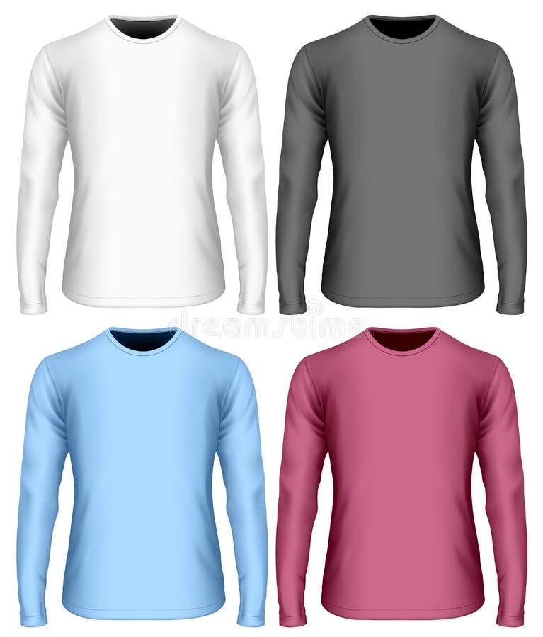 zwart Wit en kleurenvarianten van lang-sleeved t-shirt royalty-vrije illustratie
