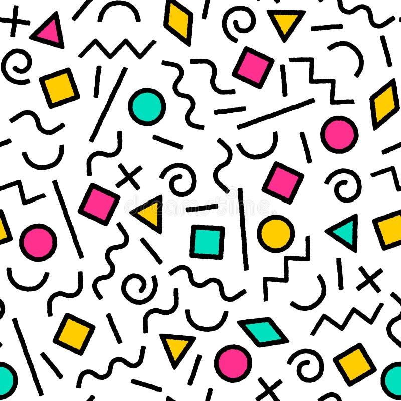 Zwart-wit en kleurrijk abstract geometrisch de vormen naadloos patroon van Memphis, vector stock illustratie