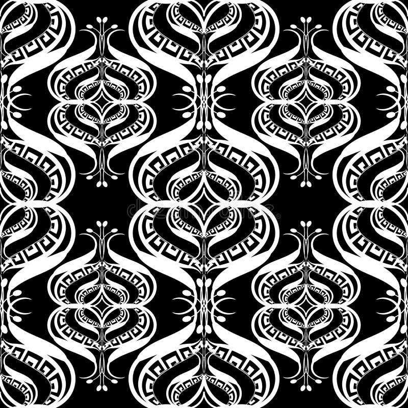 Zwart-wit etnisch Grieks vector naadloos patroon Sier zwart-wit bloemenachtergrond royalty-vrije illustratie